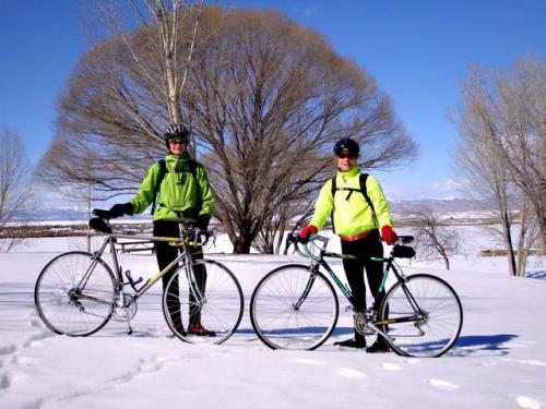 велосипедисты зимой