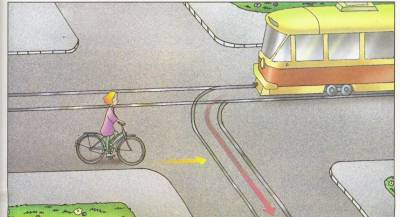 разъезд на перекрёстке с трамваем