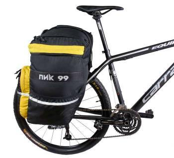 рюкзак, прикреплённый к багажнику