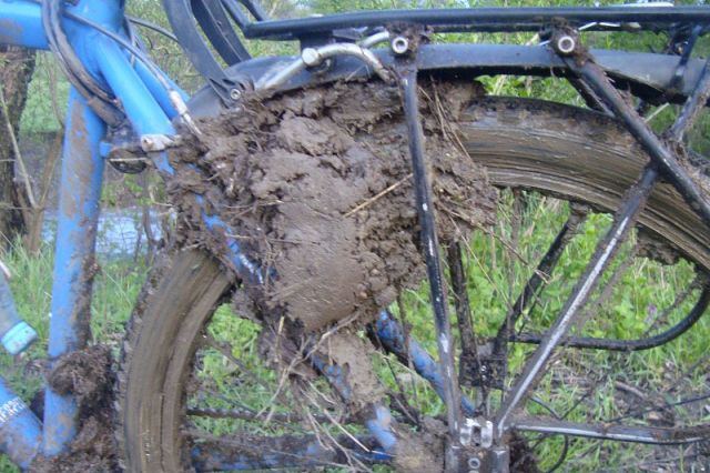колеса, забитое грязью