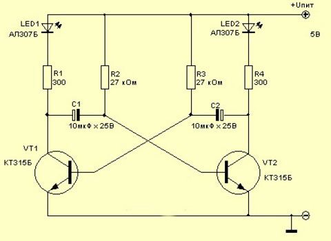 схема мигалки на 2 диода