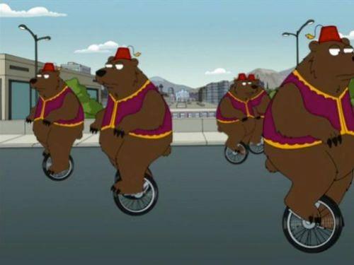 медведи на моноциклах